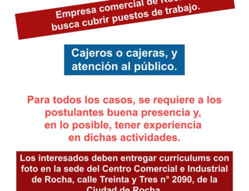 Empresa comercial de Rocha busca cubrir puestos de trabajo